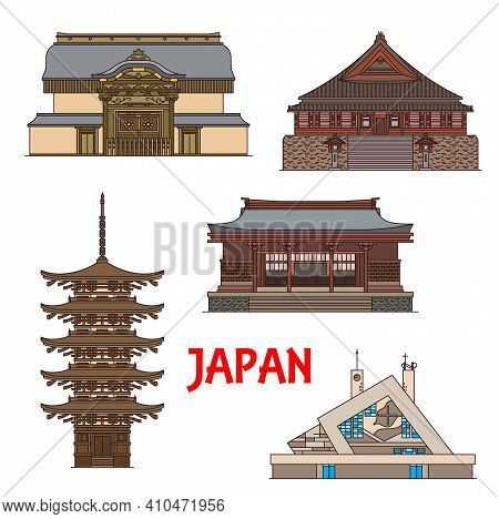 Japan Landmarks, Temples And Pagodas Architecture, Japanese Towers And Travel Buildings. Japan Landm