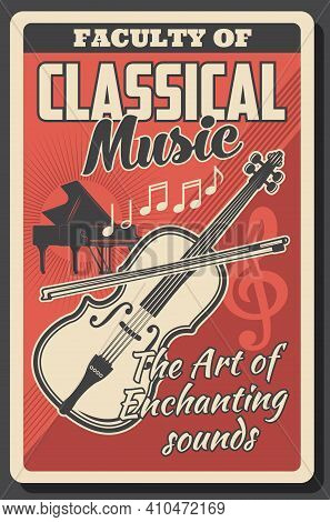 Classical Music School Or College Faculty. Grand Piano And Violin With Bow, Notes, Treble Clef Engra