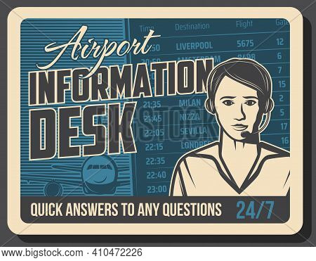 Airport Flights Information Service Retro Banner. Airport Information Desk Or Call Center Operator,