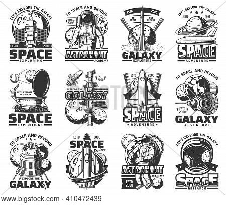 Outer Space And Galaxy Exploration, Astronauts Icons, Vector Universe Spaceship Rockets. Galaxy Univ