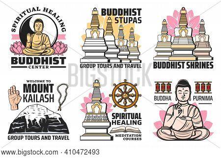 Buddhism Religion Symbols Vector Icons. Buddhist Symbolic Beads, Stupa, Tibetan Kailash Mountain, Lo