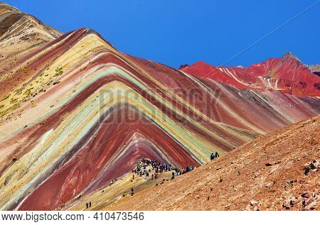 Rainbow Mountain Or Vinicunca Montana De Siete Colores And Beautiful Sky, Cuzco Or Cusco Region In P