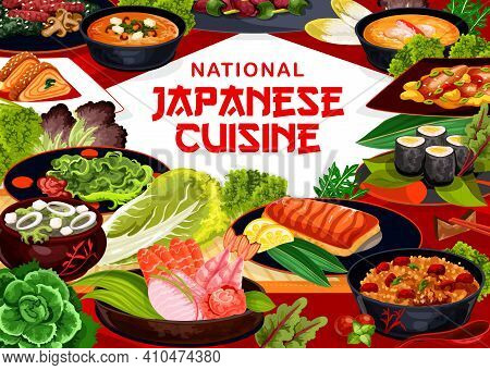 Japanese Cuisine Food Menu, Japan Restaurant Seafood, Noodles And Meat Meals, Vector Asian World Cui