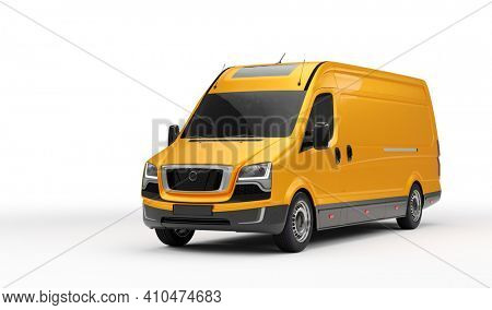 Van transportation truck on white background. Transport, shipping industry. 3D illustration