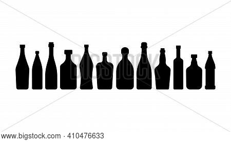 Bottle Vodka Red Wine Water Champagne Whiskey Liquor Beer Tequila Rum Martini Vermouth In Silhouette