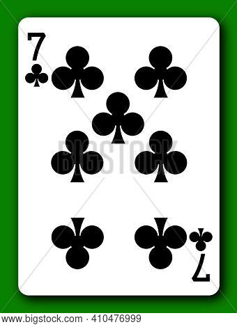 A 7 Seven Of Clubs Playing Card With Clipping Path To Remove Background And Shadow 3d Illustration