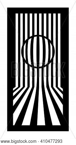 Cnc Pattern, Op Art With Lines And Circle. Decorative Panel, Screen, Wall. Vector Cnc Panel For Lase
