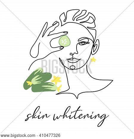 Skin Whitening With Cucumber, Facial Cosmetic Vector Illustration. Face Line Art Portrait Of Beautif
