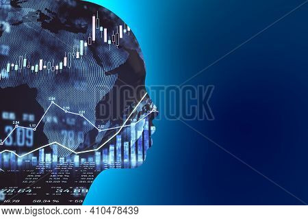 Artificial Intellingence Trade Market Concept With Robot Silhouette At Blue Background And Forex Cha