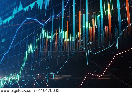 Exchange Trading In Action: Digital Screen With Stock Market Chart, Financial Graphs And Diagram. 3d