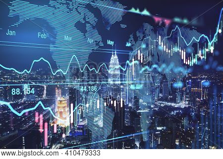 Global Stock Market Concept With Digital Voard Woth Financial Chart Graphs, Diagram And World Map At