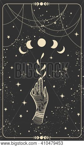 Tarot Card With Hand Holding Plant And Moon. Magical Boho Design With Stars, Engraving Stylization,