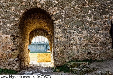 Wall Of Medieval Fortress In Akkerman City.  Akkerman Fortress Is A Historical And Architectural Mon