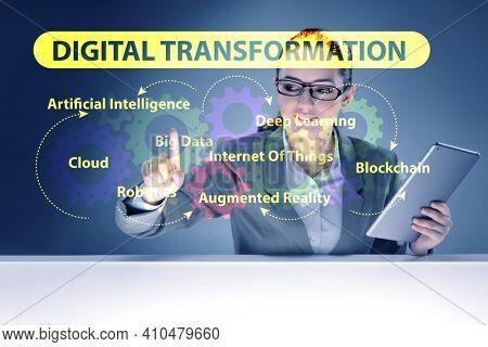 Businessman in digital transformation concept