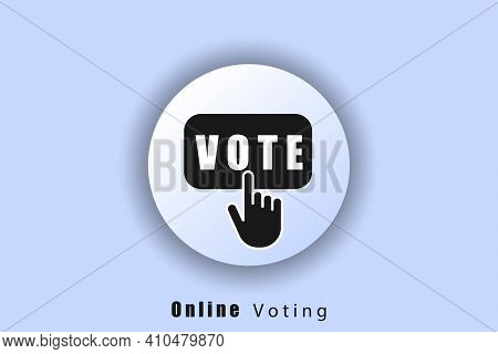 Online Voting Icon. Voting Logo. Hand Click On Vote Button Line Icon. User Interface Icon. White Web