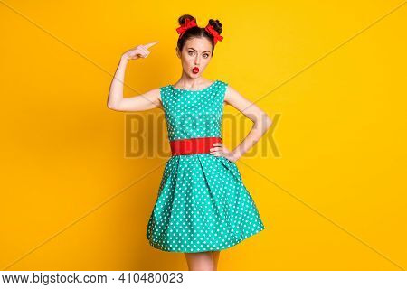 Portrait Of Nice Lovely Amazed Stunned Girl Wearing Teal Dotted Dress Showing Hairdo Pout Lips Isola