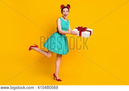Full Length Body Size View Of Nice Cheerful Girl Wearing Teal Dress Holding N Hands Giftbox Having F