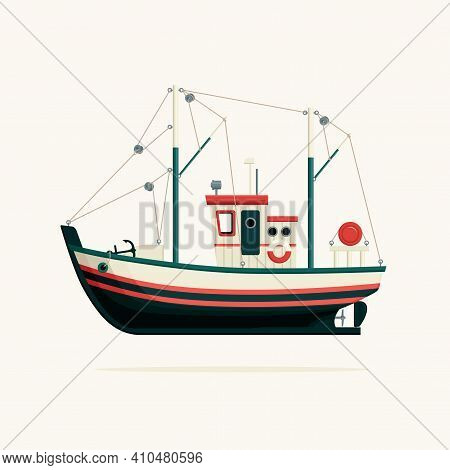 Color Image Of A Fishing Boat, Trawler Or Ship Tug On A White Background. Decorative Vector Illustra