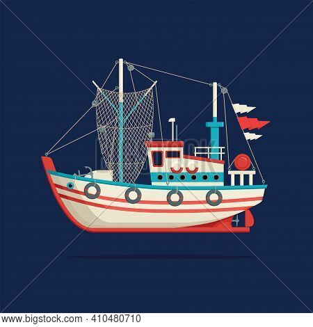 Color Image Of A Fishing Boat Or Trawler On A Dark Blue Background. Decorative Vector Illustration O