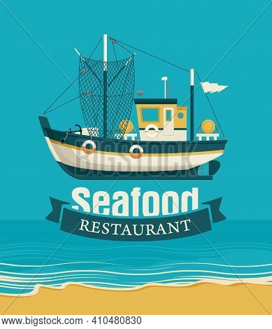 Vector Banner Or Menu For A Seafood Restaurant With A Ship Against The Background Seascape With Beac