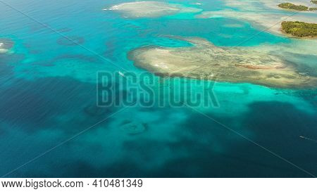 Turquoise Lagoon Surface On Atoll And Coral Reef, Copy Space For Text. Top View Transparent Turquois