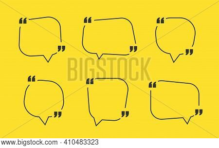 Quote Box Frame, Big Set. Quote Box Icon. Texting Quote Boxes. Blank Template Quote Text