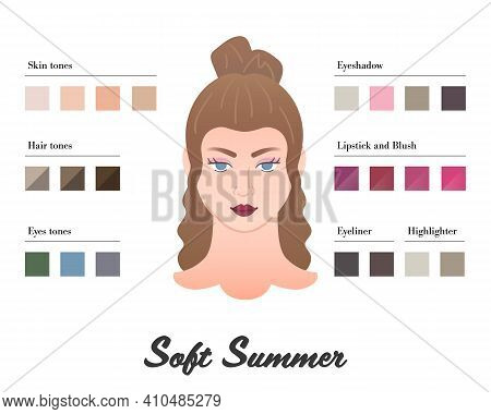 Women Color Types Analysis - Soft Summer Type. Characteristics Of Colortype And Best Palette For Mak