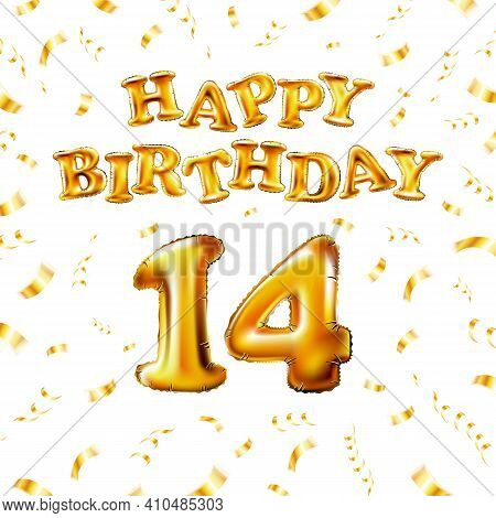 14 Happy Birthday Message Made Of Golden Inflatable Balloon Fourteen Letters Isolated On White Backg