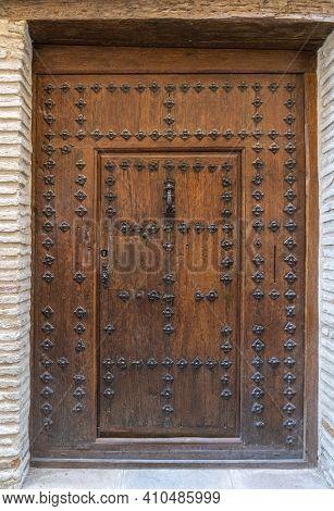 Ancient Wooden Door In The City Of Toledo, Spain