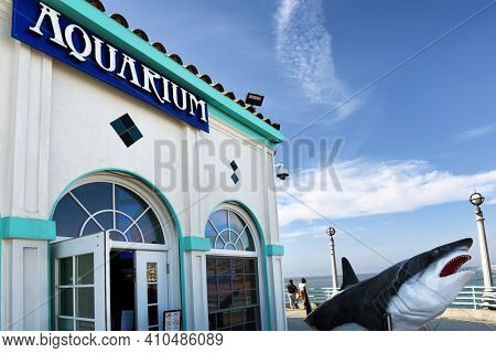 MANHATTAN BEACH, CALIFORNIA - 17 FEB 2020: Roundhouse Aquarium Teaching Center on the Manhattan Beach Pier, with Shark Statue at the entrance.
