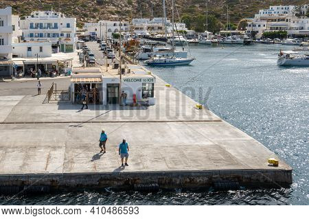 Ios, Greece - September 26, 2020: Port Of Ios, A Greek Island In The Cyclades Group In The Aegean Se