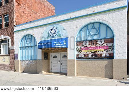VENICE, CALIFORNIA - 17 FEB 2020: Pacific Jewish Center on the boardwalk in Venice Beach.