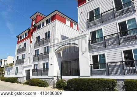 VENICE, CALIFORNIA - 17 FEB 2020: Adda and Paul Safran Senior Housing on the boardwalk in Venice Beach.