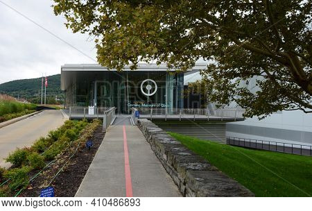 CORNING, NEW YORK - SEPT 25, 2018: Corning Museum of Glass entrance. The museum offers exhibits and glass blowing demonstrations.
