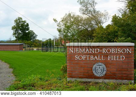 ITHACA, NEW YORK - SEPT 26, 2018: Niemand-Robison Softball Field sign on Cornell University Campus.