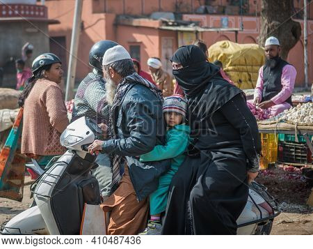 Jaipur, India. 09-05-2018. Family Ridding In A Motorcycle At The Local Market In The Center Of Jaipu
