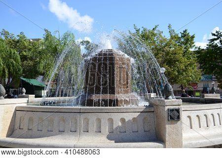 PUERTO RICO- MAY 19, 2012: The Fountain in Palmer Plaza at Caguas, Puerto Rico