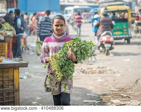 Jaipur, India. 09-05-2018. Female Adolescent On The Walking The Streets Of Jaipur In The Rajasthan A