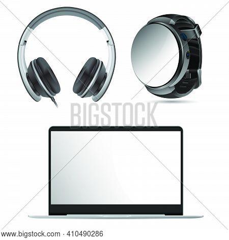 Laptop, Headphone, Watch Mockup. Pc Screen, Earphone, Smart Watch Black Illustration. Digital Wirstw