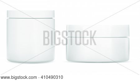 Cream Jar. Cosmetic Jar Mockup, Round White Bottle. Plastic Creme Container Blank. Realistic Clear B