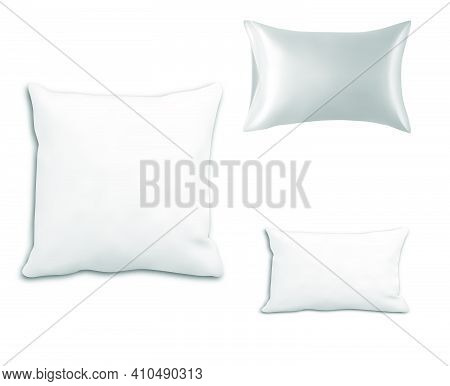 Pillow. Vector Cushion Mockup. Hotel Pillow, Square Blank. Rectangular Bed Cushion Isolated On White