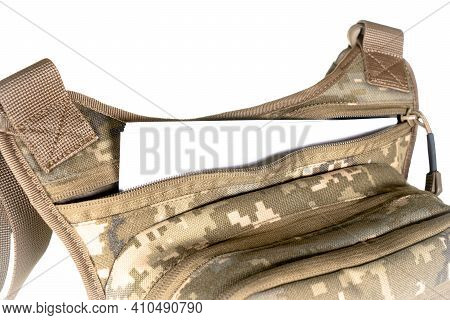 Shoulder Bag Military Travel, Isolated On A White Background