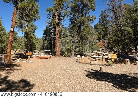 FAWNSKIN, CALIFORNIA - SEPTEMBER 25, 2016: Big Bear Discovery Center putdoor education area. The Discovery Center is an educational center in the San Bernardino National Forest.