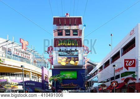 LAS VEGAS, NEVADA - DECEMBER 7, 2017: Slotzilla Las Vegas Zip Line. A thrill ride in the Freemont Street Experience in Downtown Las Vegas.
