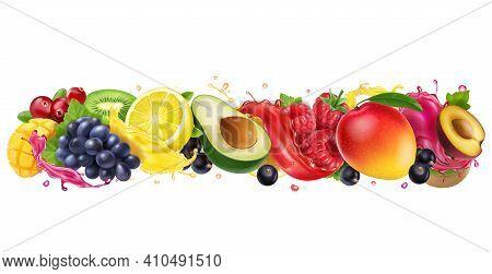 Juice Splashes Of Fruit And Berries Mix. Orange, Mango, Raspberry, Avocado, Plum, Grapes, Cranberrie