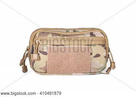 Waist Military Khaki Bag Isolated On White Background