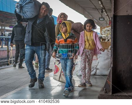 Jaipur, India. 09-05-2018. Family Is Walking With Their Belongings At The Main Train Station In Jaip