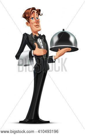 High quality 3D  freehand illustration of waiter. Illustration of a waiter holding a silver tray with dishes welcoming restaurant guests.