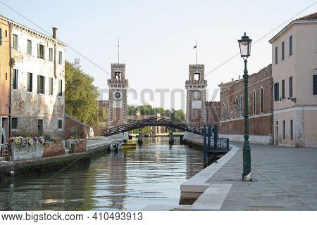 The Venice Arsenal, Ancient Shipyard, In The City Of Venice, Italy, Europe