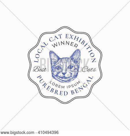 Local Cat Exhibition Frame Badge Or Logo Template. Hand Drawn Bengal Breed Face Sketch With Retro Ty